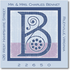 Name Doodles - Square Address Labels/Stickers (Deco Blue)